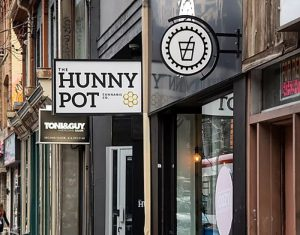 Outside The Hunny Pot Cannabis Dispensary at 202 Queen St W