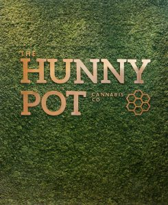 Wall of buds at The Hunny Pot Cannabis Co